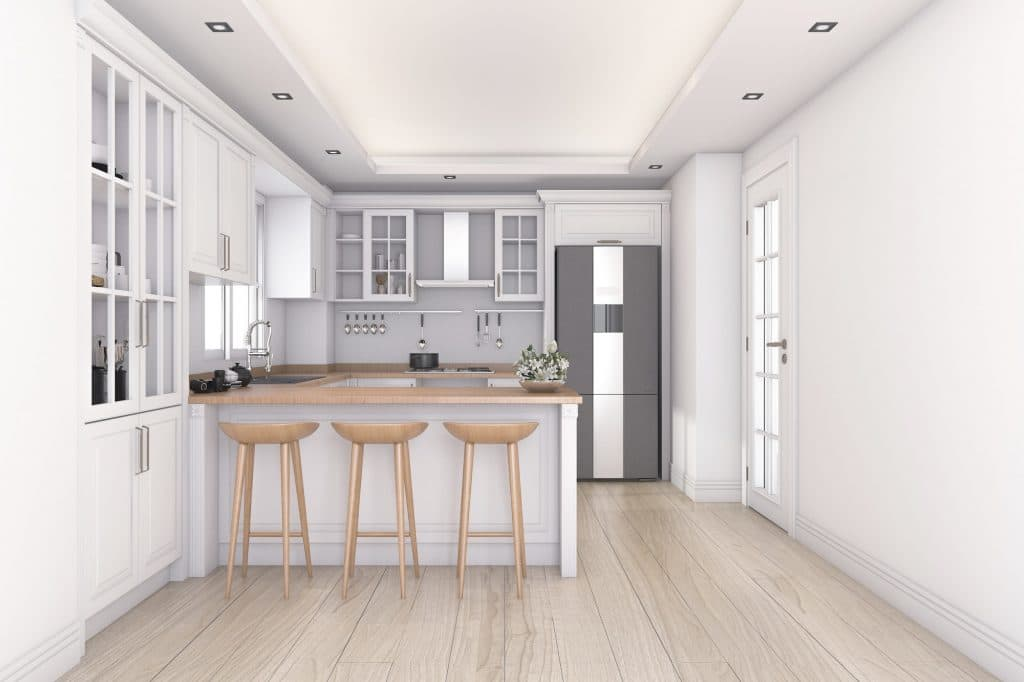 3d rendering white clean kitchen and bar